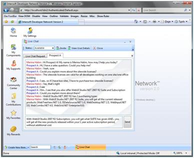 Support member Live Chat window