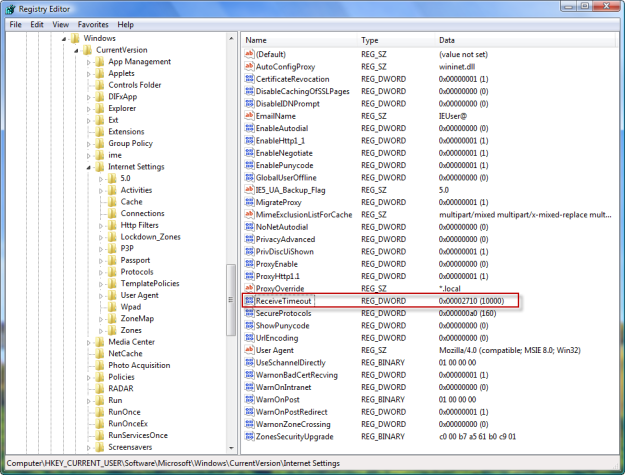 Remove ReceiveTimeout key from the registry. See the complete path above.