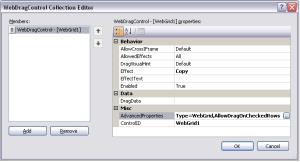 WebDragControl Collection Editor dialog box