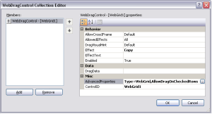 WebDragControl Collection Editor dialog box
