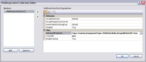 WebDropControl Collection Editor dialog box