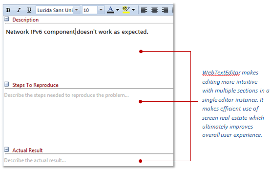 Intersoft WebTextEditor with multiple section implementation