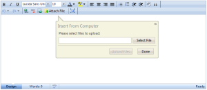 Attach File command included in main toolbar