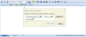 Upload status is displayed