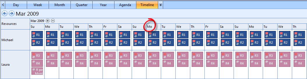 DateHeaderModeShortestDayName
