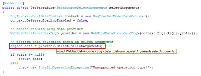 Simplified code using WebGrid LINQ provider.