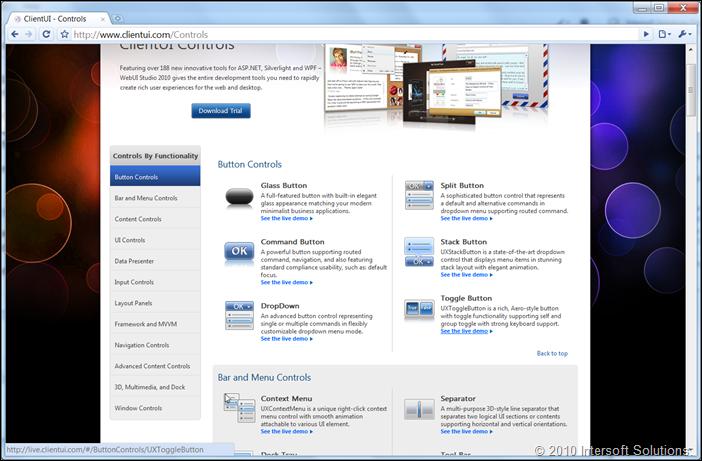 ClientUI controls list
