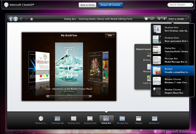 The ClientUI Control Explorer featuring deep navigation, search box and amazing user experiences