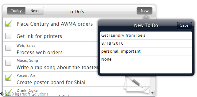 Elegant to do list with iPad-style pop over interface
