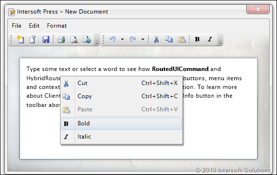 Rich text editor sample demonstrating routed command