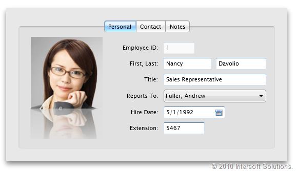 Mac style tab control