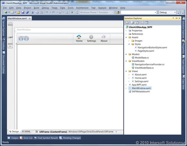 ClientUI navigation project