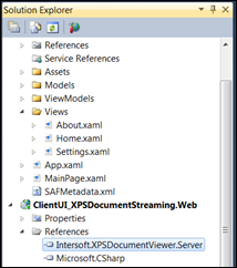 Add Intersoft.XPSDocumentViewer.Server reference