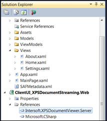 Add Intersoft.XPSDocumentViewer.Server reference