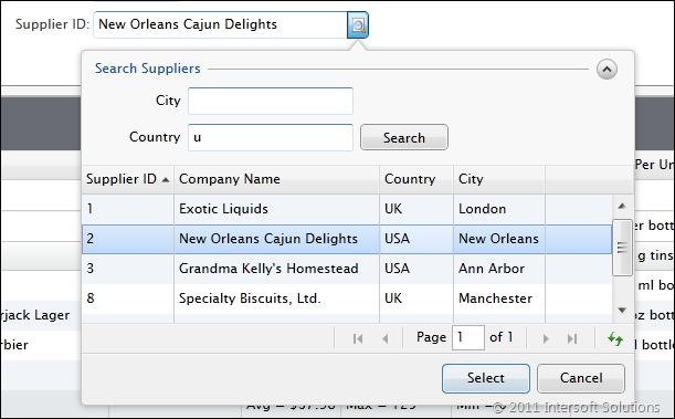 UXDataLookupBox intuitive user interface