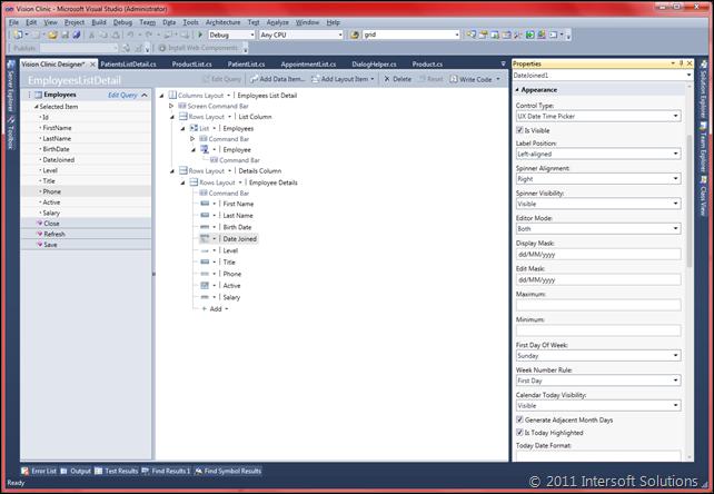 Property customization in Screen Designer