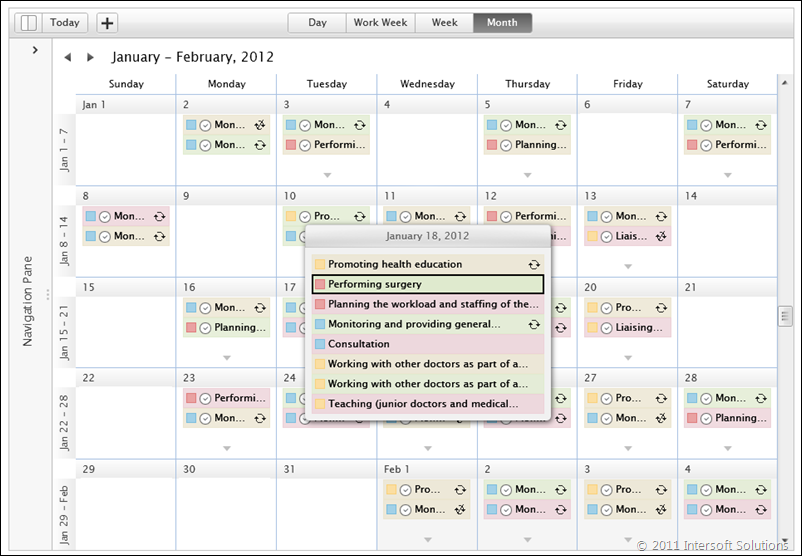 UXScheduleMonthView with more popup
