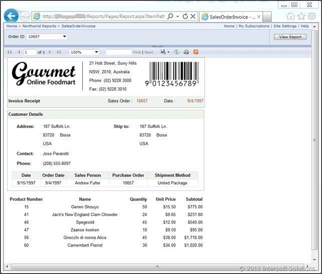 Classic SQL Report Viewer running in browser