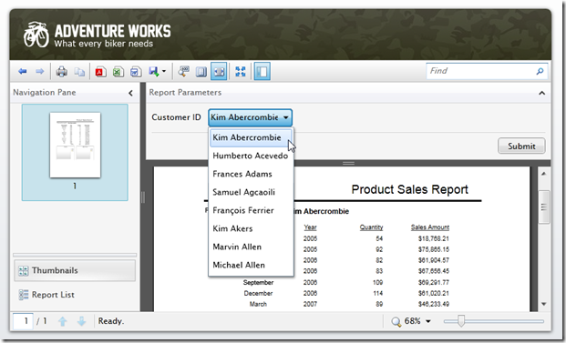 SQLReportViewer - Product Sales Report