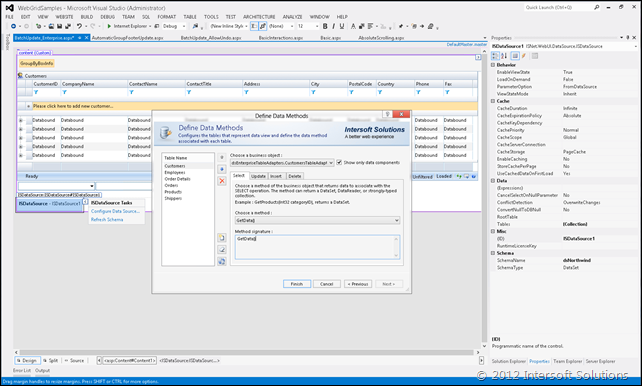WebGrid and ISDataSource in Visual Studio 2012