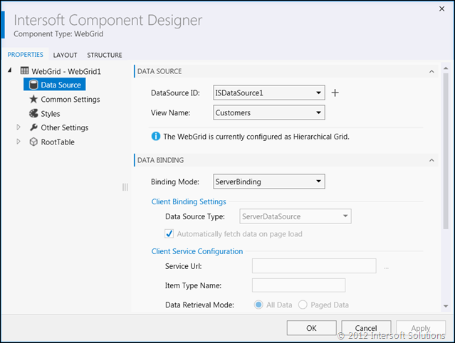 WebGrid Designer for Visual Studio 2012