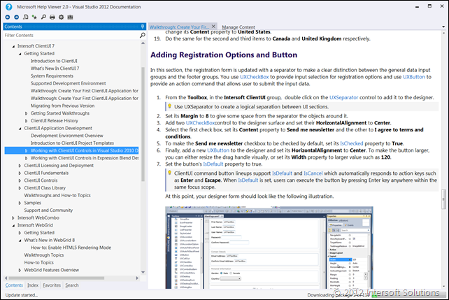Help integration in Visual Studio 2012