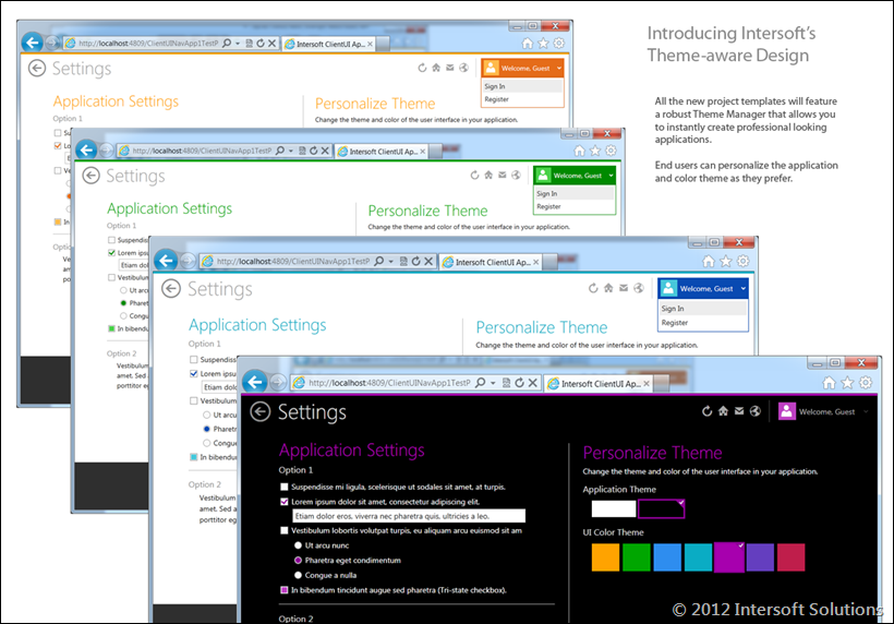 Theme-aware design lets users personalize application and color theme