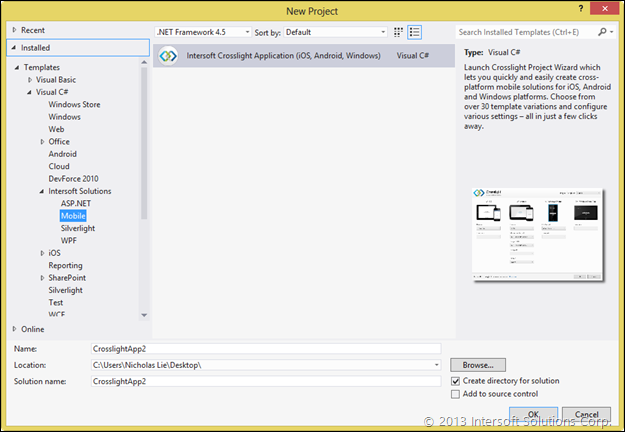 Creating New Project in VS 2012