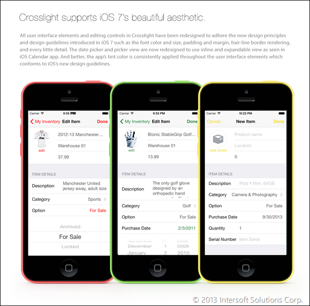 Crosslight applies iOS 7 design principles
