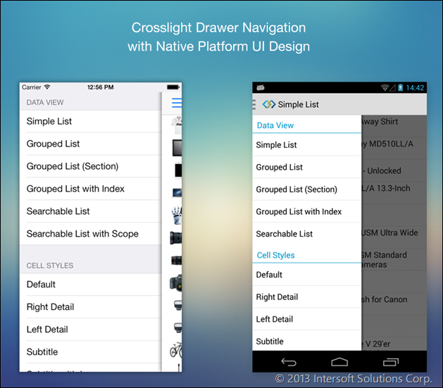 Crosslight Drawer Navigation