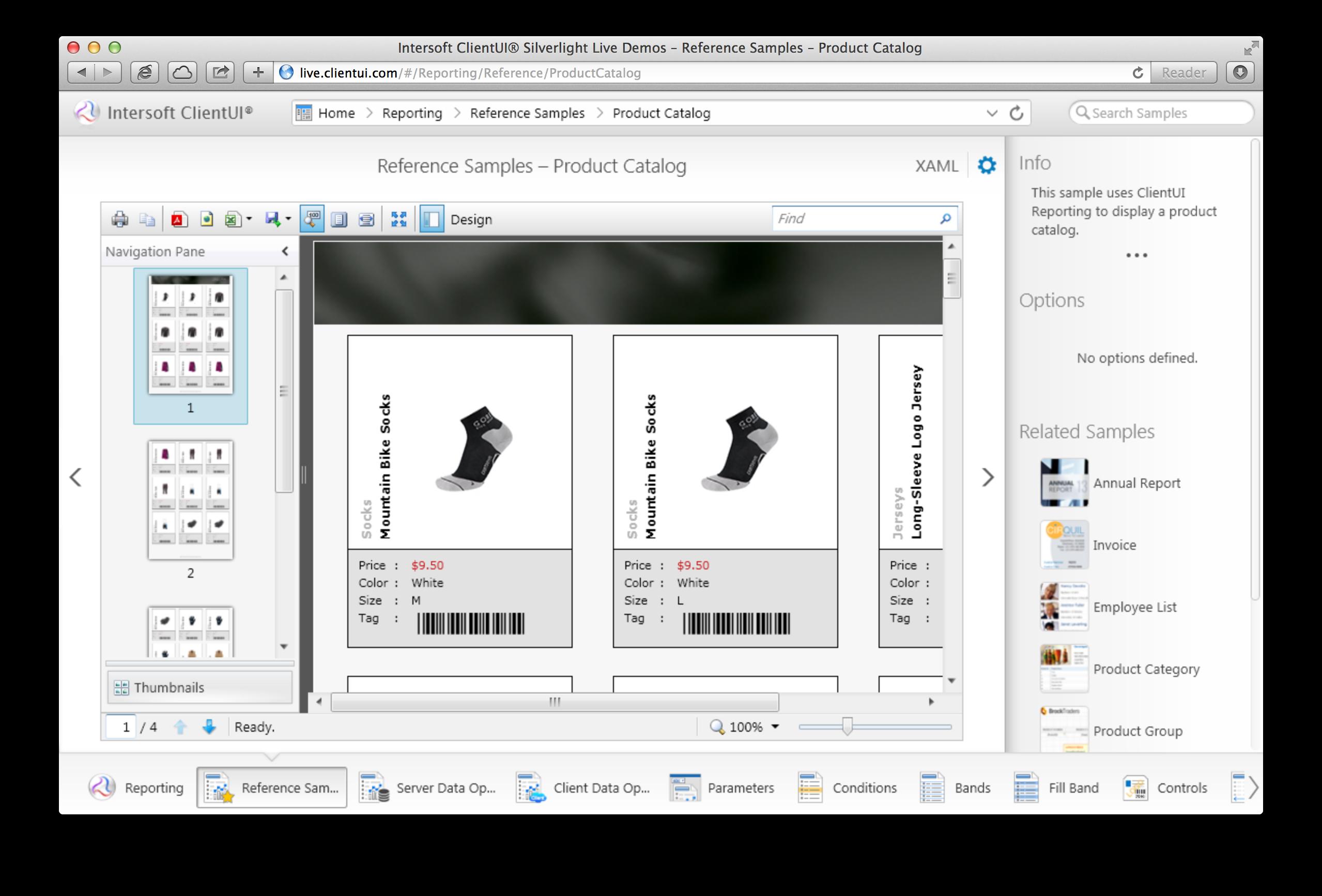 ClientUI Reporting Samples